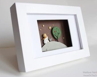 Pictures children room Boy under the stars3D  box frame art handmade Gift wall art