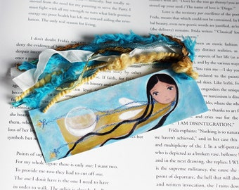 The Moon Fairy - Laminated Bookmark  Handmade - Original Art by FLOR LARIOS