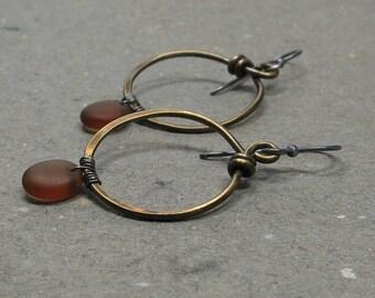 Brass Hoop Earrings Brown Glass Beads Mixed Metals Oxidized Sterling Silver Earrings
