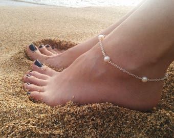 White Fresh Water Pearl Anklet Hypoallergenic