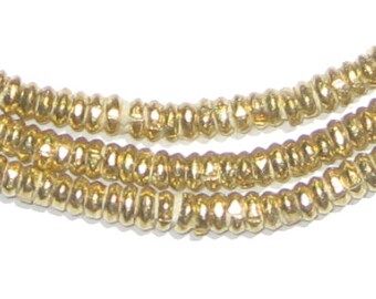 200 Ethiopian Brass Heishi Beads - 4mm Brass Spacers - African Metal Beads - Jewelry Making Supplies - Made in Ethiopia (MET-HSHI-BRS-241)