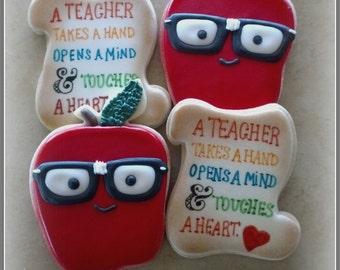 Teacher School Appreciation Apple  Decorated Sugar Cookies