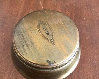 Vintage Brass Powder Puff Container