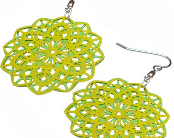 Spirograph Stainless Steel Earrings in Lime/Apple Green