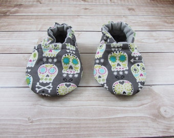 Sugar Skull Cotton Baby Shoes, Baby Booties, Soft Sole Baby Shoes, Toddler Shoes, Sculls Tula Accessory, Halloween, Dia De Los Muertos