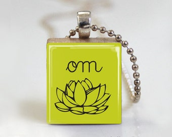 YOGA OM Lotus Flower - Scrabble Pendant Necklace with Free Ball Chain Necklace or Key Ring