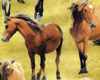 Greener Pastures Horses - Wilmington Prints - 1 yard - More Available - BTY