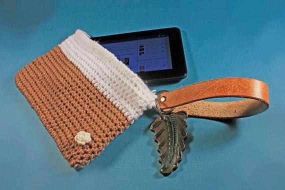 Handbag, Wristlet, Zippered Bag, 7 Inch Tablet Bag, Hand Tooled, Leather Key Ring, Leather Handle,  Electronics Bag,Handmade, Crochet