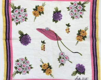 Bold & bright floral 1960s hankie, gardening, signed Sally Victor