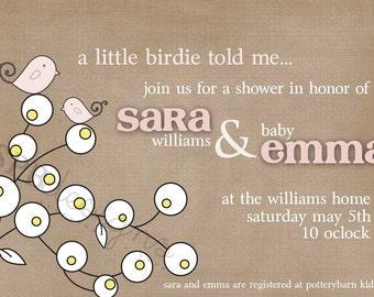 Baby Shower Invitation -- Little Birdie