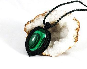 Huge Wrapped Genuine Malachite Macrame Pendant Necklace