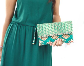Envelope Clutch in Teal Batik print, Cotton clutch, Clutch purse, wristlet purse