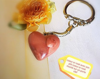 Pink gold heart and his Lil pink gold heart mounted on a keychain