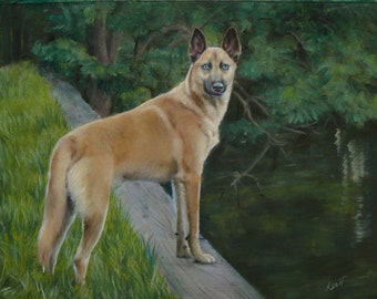 Pet portrait with detailed background, Custom Pet Oil Painting painting  unstretched, (not framed)