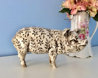 Charming Toile Pig Figurine Country French