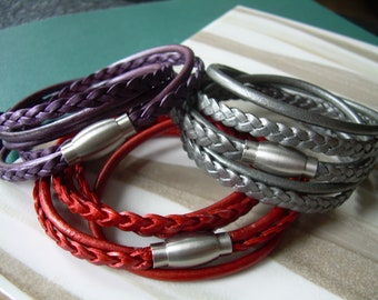 Women's Leather Bracelets, Leather Bracelets for Women, Women's Braided Leather Bracelets, Purple Bracelet, Stainless Steel Magnetic Clasp