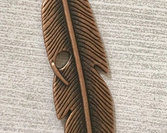 FEATHER Copper Pewter Charm Pendant, Keychain, Purse, Backpack, Craft, Jewelry Supply