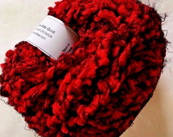 """Crystal Palace Poof #3608 """"Lacquer Red"""" Red, Black Puff Eyelash Yarn 50gr 47yd Supersoft Nylon Super Bulky Machine Wash"""