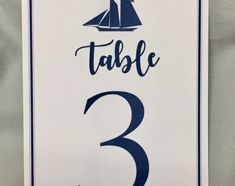 Nautical beach wedding table numbers,nautical table numbers,reception numbers, sailboat