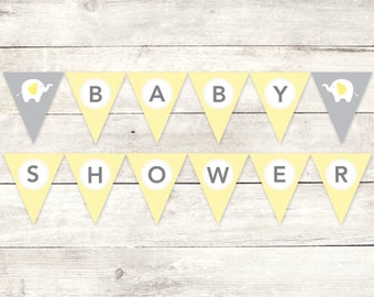 baby shower banner printable DIY bunting banner elephant yellow grey polka dots hanging banner digital triangle - INSTANT DOWNLOAD