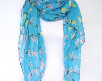 Blue Scarf, Dragonfly Spring Scarf, Women's Scarves, Fashion Scarf, Boho scarf, Scarf Shawl, Soft Viscose, Gifts For Her, Gift for Mother