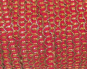 Red and Gold Metallic Gimp - Trim Me Up 5 Yards