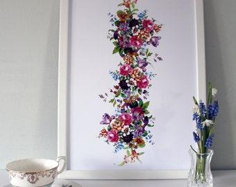 Floral multicoloured Art Print - Vintage Style Art Print - Vintage Style Decor - floral art - flowers in art - vintage style art