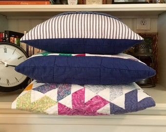 """SALE Vintage Quilt & Blue Ticking Pillow Cover Patchwork Pillow Cover - Hand Stitched  -Stripe Country Quilt Pillow Cover - Farmhouse 16"""" Pi"""