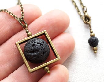 fathers Day Gift Raw Stone Necklace Essential Oil Diffuser Necklace Square Black Lava Stone Necklace Full Moon Necklace mens custom necklace