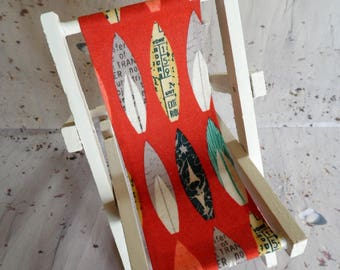 Smart Phone Stand-Novelty Deck Chair-Surfboard Fabric-iPad Stand-Beach Themed-Wedding Favour-Gift for Him-Gift for Her-Gift for Teens.