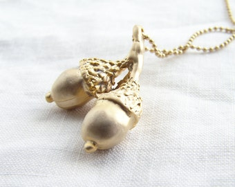 Matte Gold Acorn Necklace. Fall fashion. Simple Modern Jewelry by Smallbluethigs ~ Valentine's Day