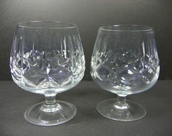 Vintage Pair of Crystal Cross & Olive Cognac Brandy Snifters  (FREE SHIPPING)