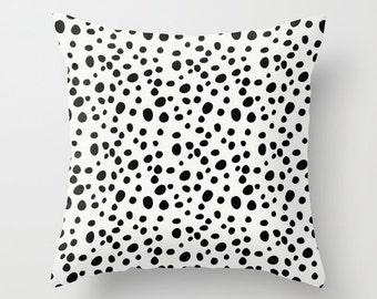 Dalmatian Print Pillow, Black and White Pillow Cover, Velveteen, Cushion Cover, Tween Room Decor, Teen Bedroom, Girls Decor, Tween Girl Gift