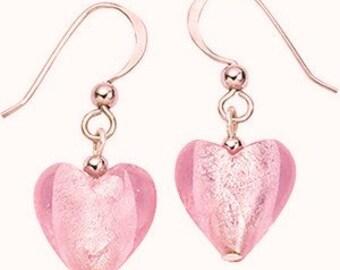 Solid Pink Murano Glass Heart Beaded Dangle Earrings