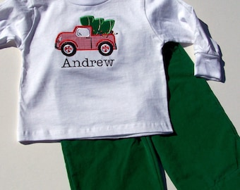 Christmas Tree Truck Tee Shirt and Pants Set