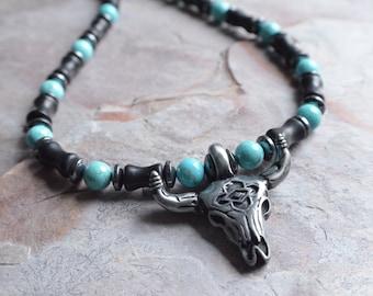 Wrangler - Turquoise Hematite Skull Men's Beaded Necklace