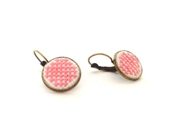 Pink earrings. Hand embroidered earrings. Gift for her. Valentine gift. Pink raster. geometric earrings