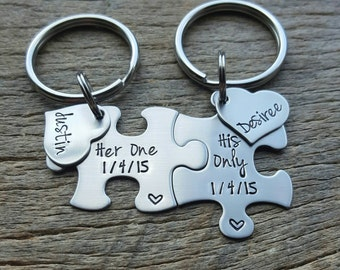 Customizable Puzzle Piece Key Chain Set His and Hers Her One His Only Gift For Him