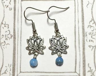 Peaceful Lotus Silver-plated Earrings, Gem Stones Earrings, Bridesmaid Earrings, Gift for Mom, Christmas Gift, Lotus Earrings