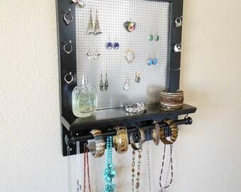 BIG SALE 20% OFF Jewelry Wall Organizer with Bracelet Bar, Necklace Holder, Earring Organizer
