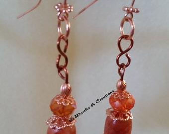 Orange Copper Earrings