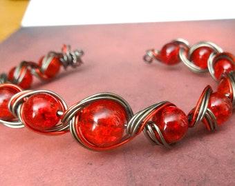 Bracelet adjustable Atlantean of hematite and glass copper wire