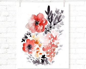 Red - Black - Floral - Poppy - Poppies - Watercolor - Art Print
