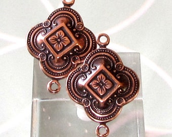Antique Copper 2 Ring Quatrefoil Connector, 2 Pc. AC209