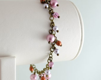 Cluster Bracelet, Rose Swarovski Pearl, Antiqued Brass Chain, Pink and Copper Czech Glass Beads, Wire Wrapped Jewelry