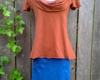 Scoop Cowl Short Sleeve Top, Organic Cotton Jersey