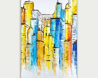 Original Colorful City Art, Abstract & Modern Painting, Oil On Canvas, Home Decor