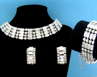 B. David Clear Rhinestone Necklace, Bracelet, and Clip Earring Set