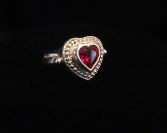 Vintage Synthetic Ruby Ring Sterling Silver Size 7