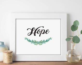 Hope Garland Watercolor - Digital Print Download, Wall Art, Typography print, Printable Quote, Art Print